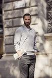 021032 Basic Polo Sweater Grijs Melange Clique