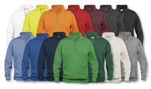 021033 Basic Sweater Half Zip Signaal Oranje Clique