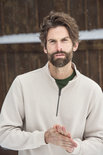 021033 Basic Sweater Half Zip Licht Khaki Clique