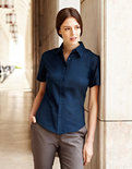 F701 Lady-Fit Oxford Shirt met korte mouwen Fruit of the Loom
