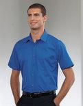 Z937 Heren Pure Cotton Easy Care Poplin Shirt met Korte mouwen RUSSELL